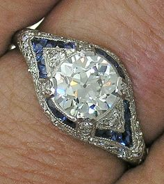 Jewelry Diamond : Platinum Edwardian European Cut Diamond & Sapphire Ring J certifi. - Buy Me Diamond Bijoux Art Deco, Art Deco Jewelry, Fine Jewelry, Jewelry Design, Jewelry Making, Antique Jewelry, Vintage Jewelry, European Cut Diamonds, Bracelets