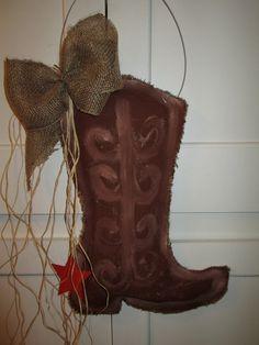 Burlap Cowboy Boot Burlap Door Hanger