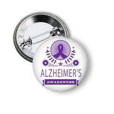 Alzheimer's Awareness Pinback Button or Magnet #Alzheimers #Alzheimersawareness #findacure