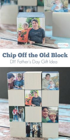 Looking for a DIY father's day gift that is easy, inexpensive and sentimental? Make dad a set of personalized wooden photo blocks for his desk. Diy Gifts For Dad, Diy Father's Day Gifts, Father's Day Diy, Fathers Day Photo, Fathers Day Crafts, Desk Gifts, Sentimental Gifts, Craft Party, Diy And Crafts