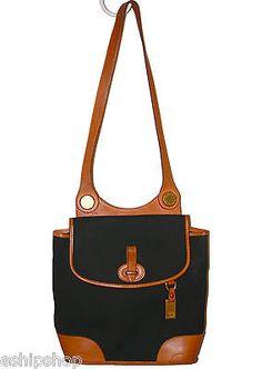 DOONEY & BOURKE Vintage Navy Blue Leather Shoulder Bag Satchel Purse 17743 RARE