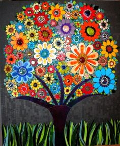 Beautiful Mosaic tree by Leena NioThe mosaic daisy tree, is a happy tree!to ] Great to own a Ray-Ban sunglasses as summer gift.flowers mosaic- love the bright and subtle colors togetherMother of the Bride Dress -- possibility.in a light color imagine Mosaic Wall, Mosaic Glass, Mosaic Tiles, Glass Art, Stained Glass, Fused Glass, Mosaic Crafts, Mosaic Projects, Art Projects