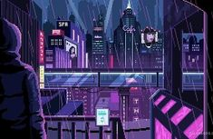 Animated gif uploaded by Bunny Cupcake. Find images and videos about gif, city and rain on We Heart It - the app to get lost in what you love. Cyberpunk City, Arte Cyberpunk, Cyberpunk Aesthetic, Vaporwave, Aesthetic Art, Aesthetic Anime, Pixel Art Gif, Pixel City, Space Opera