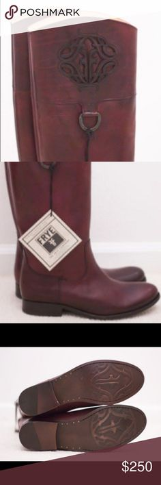 New Frye Melissa Logo Tall Boots 8.5 New with tags. Beautiful tall riding boots with classic Frye emblem logo. Dark rich brown. Frye Shoes Heeled Boots