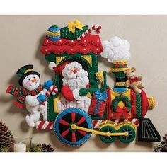 Christmas Craft Kits: Bucilla Santa & Snowman on a TRAIN WALL HANGING Felt Kits