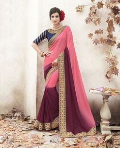 Pink Georgette Party Wear Saree 68178