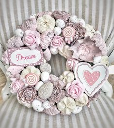 Wreath Crafts, Diy Wreath, Burlap Wreath, Christmas Advent Wreath, Xmas Wreaths, French Flowers, Shell Crafts, Summer Wreath, Diy Flowers