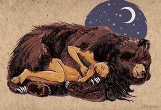 медведь, прижиматься, девушка, иллюстрация, ночь, спящие