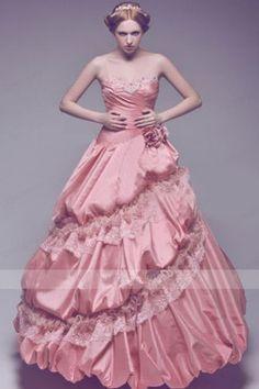 Modest Pink Taffeta Quinceanera Dresses Dress with Sweetheart Neckline Bubble Skirt