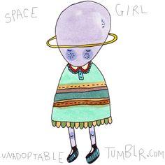 Space Girl Tee by Kendra Yee