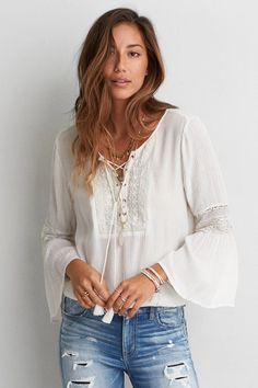 American Eagle Outfitters AEO Lace-Up Bell Sleeve Top