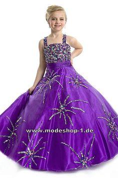Pailetten Stick Abendkleid Ballkleid für Mädchen Lilanes Blumenmädchenkleid  www.modeshop-1.de