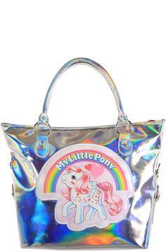Iron Fist Ladies♥My Little Pony Tote in Hologram ♥PU Shell Woven Cotton Lining ♥Zip Closure♥Inner Zip Pocket♥2 Inner Pouches♥Removable/Adjustable Strap♥