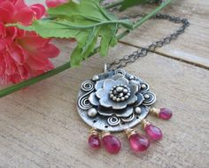 Pink Sapphire Lotus Necklace Oxidized Sterling by BloomingandWild