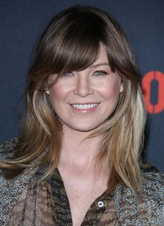 Ellen+Pompeos+ombre+hairstyle+with+bangs