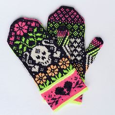 Ravelry Ravelry: Day of the Dead MMKAL pattern by Stephanie Lotven - Buy Get 1 FREE! Place 4 of my patterns in your cart and the Knitting Charts, Knitting Stitches, Knitting Patterns Free, Crochet Patterns, Crochet Ideas, Mittens Pattern, Knit Mittens, Wrist Warmers, Hand Warmers