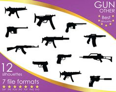 Hey, I found this really awesome Etsy listing at https://www.etsy.com/listing/503603552/12-silhouettes-gun-guns-weapon-rifle