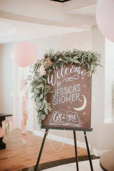 Greenery Bordered Wood Sign - Bohemian Baby Shower Ideas - Photos