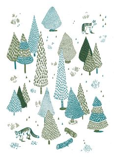 Woods//Searching for you screen print by DionneKitching on Etsy Winter Illustration, Plant Illustration, Christmas Illustration, Illustration Sketches, Illustrations And Posters, Tree Patterns, Print Patterns, Floral Patterns, Christmas Drawing