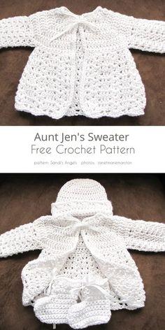 Crochet Baby Sweater Pattern, Crochet Baby Jacket, Crochet Baby Sweaters, Baby Sweater Patterns, Baby Girl Crochet, Crochet Baby Clothes, Crochet Baby Dresses, Crochet Baby Stuff, Free Baby Sweater Knitting Patterns