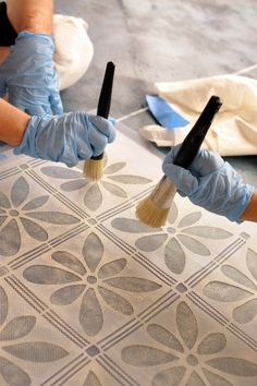 Stenciled concrete floor for basement