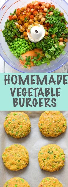 HOMEMADE VEGGIE BURGER These veggie burgers are so easy to make and are a wonderful comfort food meal They are made with a mixture of vegetables and baked in the oven CL. Clean Eating Vegetarian, High Protein Vegetarian Recipes, Vegetarian Recipes Dinner, Diet Recipes, Cooking Recipes, Healthy Recipes, Vegetarian Food, Cooking Ideas, Dessert Recipes