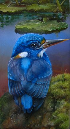 Blue Small painting of a common kingfisher by Gabriel Gressie 6 x 12 cm oil on panel #art,painting
