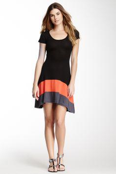 Contrast Hi-Lo Hem Dress