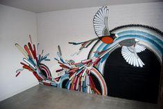 This would make a beautiful wall! Modern Birds Wall Murals Design Ideas