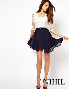 Aliexpress.com : Buy Lace Chiffon Dress Pleated Fashion Women Summer Dress 2014 Novelty High Street Desigual White Casual Dresses Vintage Vestidos from Reliable dresses for small breasted women suppliers on sexy region