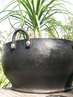 Upcycled tires into pots.