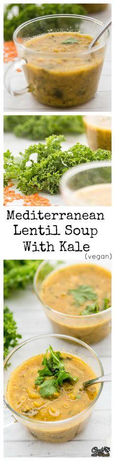 Mediterranean Lentil Soup with Kale - hearty, healthy & vegan!