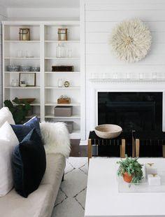 House Seven Design / Juju Hat / Modern Farmhouse. Ikea Billy Bookshelves HACK.