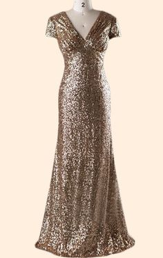 MACloth Cap Sleeves V Neck Sequin Long Bridesmaid Dress Gold Formal Evening Gown 10803 Pink Flower Girl Dresses, Girls Dresses, Gold Bridesmaid Dresses, Sequin Gown, Dresses With Sleeves, Cap Sleeves, Cosplay Outfits, Gold Dress, Wedding Party Dresses