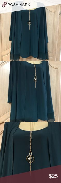 New elegant blouse New elegant blouse two pieces with long sleeves and necklace in gold metal and stones low round neckline and beautiful intense green color size 1x Tops Blouses