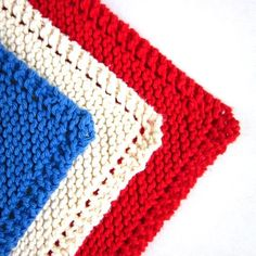Knit Cotton Dishcloths Red White Blue by EweniqueEssentials, $13.50