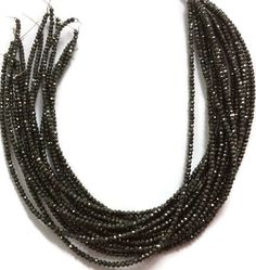 4 Strand Black Spinel Coated Faceted Rondelles Beads 2.5-3mm 13.5 inch Bead #Faceted