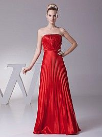 Strapless Elastic Satin Prom Dress with Beads and Pleats