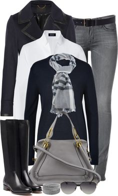 Grey jeans, white button down, black scarf, black jacket, black boots, grey purse & scarf - love this whole outfit