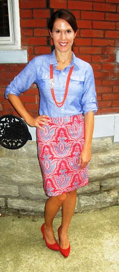 Bright pattern skirt with chambray