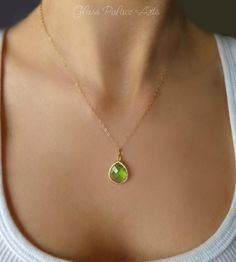 Peridot Green Pendant Necklace - Small Petite Charm Necklace
