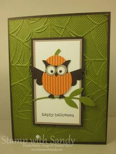 handmade Halloween card ... owl punch art ... owl punch dressed in pumpkin costume ... luv the hat ... olive base layer embossed with spiderweb embossing folder ... luv it!! ... Stampin' Up!