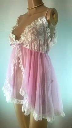 Vintage Babydoll Negligee 1960s Pink Chiffon Nylon Nightie Vintage Lingerie Size Small Tosca Made In California 60s Pink Lace Nightgown by RadicalMaudVintage on Etsy