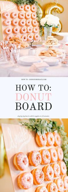 How To Make a Donut Board An easy step by step tutorial of how to make a donut board in under 30 minutes donutboard bridalshower donuts brunch How To Make a Donut Board An easy step by step tutorial of how to make a donut board in nbsp hellip Donut Wedding Cake, Wedding Donuts, Wedding Desserts, Donut Party, Wedding Cakes, Diy Wedding, Wedding Rustic, Wedding Ideas, Dessert Party