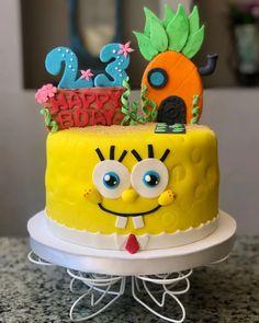 Special Birthday Cakes, Cookie Cake Birthday, Spongebob Birthday Party, Spongebob Party Ideas, Gummy Bear Cakes, Sponge Bob Cupcakes, Construction Birthday Parties, Themed Cakes, Party Cakes
