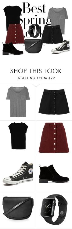 """""""Casual Skirt Fever"""" by kallysantos on Polyvore featuring H&M, T By Alexander Wang, Monki, Isabel Marant, Miss Selfridge, Converse, Lucky Brand and Topshop"""