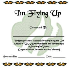 girl scout bridging ceremony ideas | Brownie Fly Up Certificate – Bridging Ceremony | Girl Scout Ideas