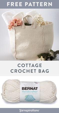 Free Cottage Bag crochet pattern using Bernat Handicrafter Cotton yarn. This spa. Bag Crochet, Crochet Market Bag, Crochet Handbags, Crochet Purses, Crochet Gifts, Crochet Hooks, Crochet Cotton Yarn, Crochet Baskets, Crochet Braids