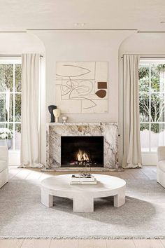 Marble Fireplace Surround, Marble Fireplaces, Fireplace Surrounds, Home Fireplace, Fireplace Remodel, Fireplace Design, Fireplace Modern, Fireplace Windows, Stucco Fireplace