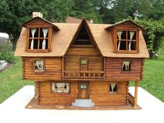 Large 2 Story Rolled Paper Rustic Log Cabin Doll House Model Handmade Folk Art | eBay